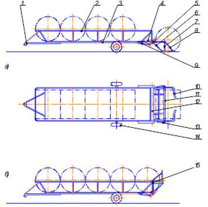 Рисунок – транспортное средство для погрузки, перевозки и разгрузки рулонов сенажа и сена: а – вид сбоку и сверху при захвате рулона; б – вид сбоку загруженного транспортного средства; 1 – прицеп; 2 – барьер; 3 – платформа; 4 – уравновешивающий механизм; 5 – рычаг; 6, 8 – раскос; 7 – стойка;  9, 13 – гидравлический цилиндр; 10 – захват; 11 – траверса; 12 – вал подъёмника; 14 – шасси; 15 – механизм фиксации.